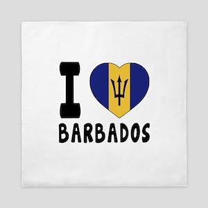 I Love Barbados Queen Duvet