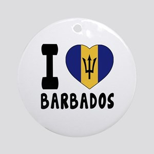 I Love Barbados Round Ornament