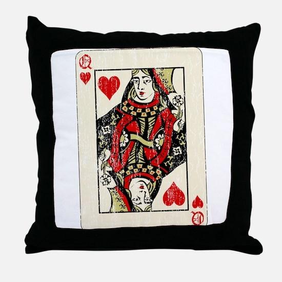 Retro Queen Of Hearts Throw Pillow