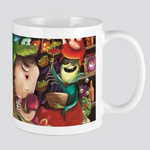 Three Friendly Halloween Witches cooking Mugs