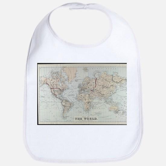 Vintage Map of The World (1875) Bib