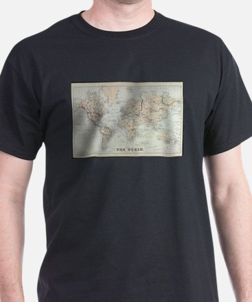 Vintage Map of The World (1875) T-Shirt