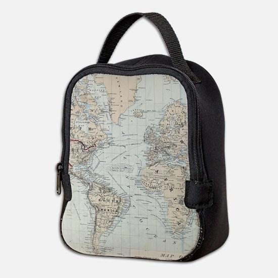 Vintage Map of The World (1875) Neoprene Lunch Bag