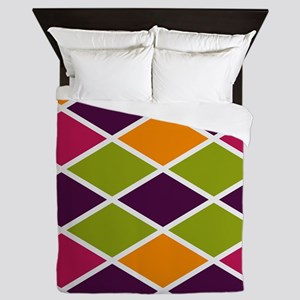 Colorful Abstract Triangles Background Queen Duvet