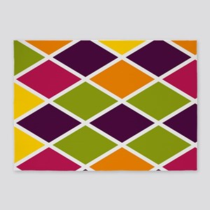 Colorful Abstract Triangles Backgro 5'x7'Area Rug