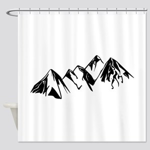 Mountains Landscape Drawing Shower Curtain