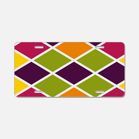Colorful Abstract Triangles Aluminum License Plate
