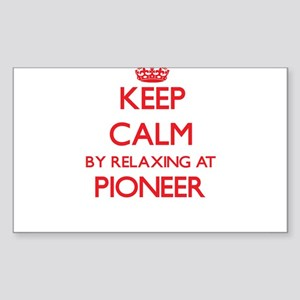Keep calm by relaxing at Pioneer Massachus Sticker