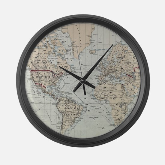 Vintage Map of The World (1875) Large Wall Clock