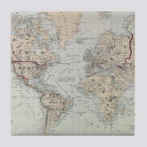 Vintage Map of The World (1875) Tile Coaster