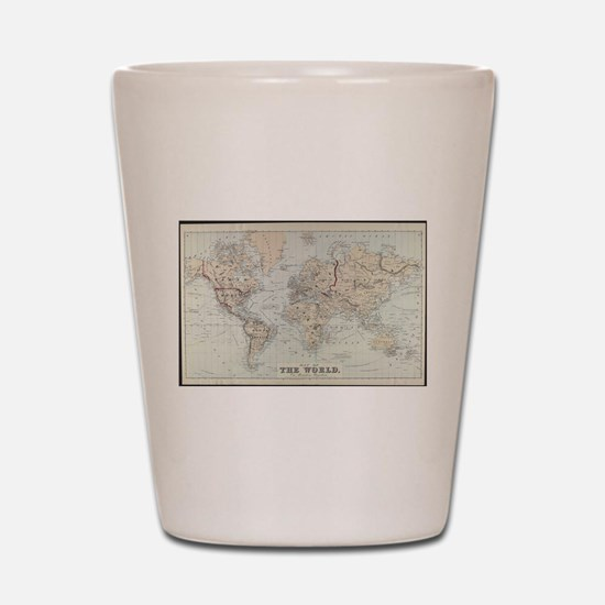 Vintage Map of The World (1875) Shot Glass