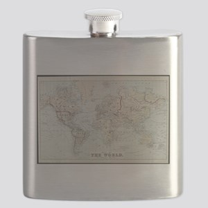 Vintage Map of The World (1875) Flask