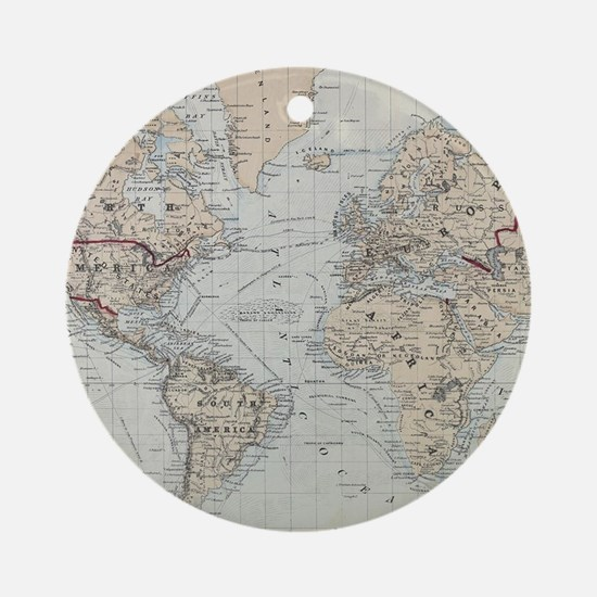 Vintage Map of The World (1875) Round Ornament