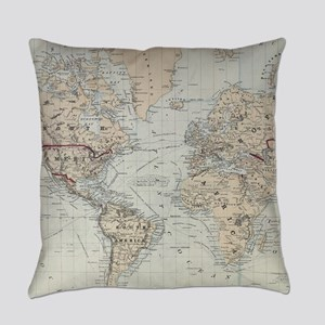 Vintage Map of The World (1875) Everyday Pillow