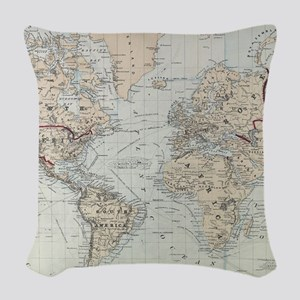 Vintage Map of The World (1875 Woven Throw Pillow