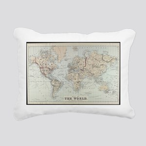 Vintage Map of The World Rectangular Canvas Pillow