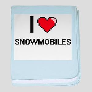 I love Snowmobiles digital design baby blanket