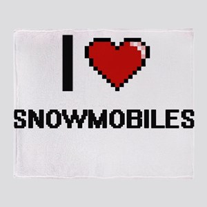 I love Snowmobiles digital design Throw Blanket