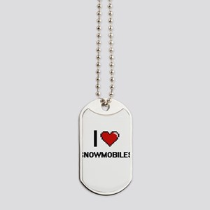 I love Snowmobiles digital design Dog Tags