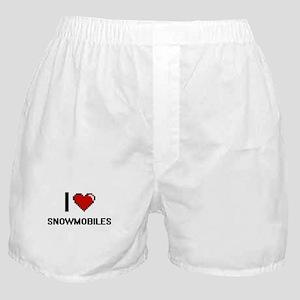 I love Snowmobiles digital design Boxer Shorts