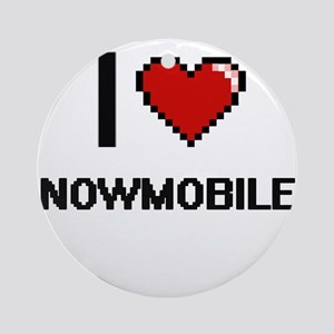 I love Snowmobiles digital design Round Ornament