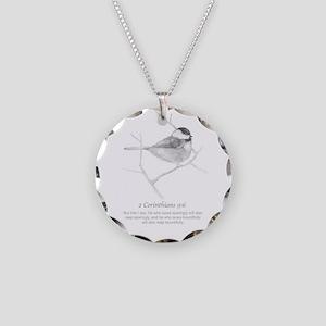 2 Corinthians 9:6 Chickadee Necklace Circle Charm