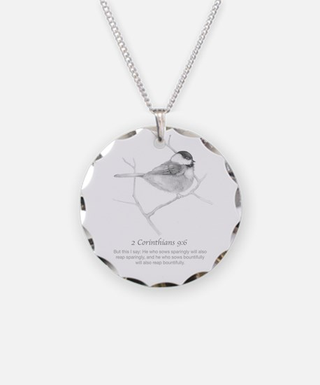2 Corinthians 9:6 Chickadee Necklace