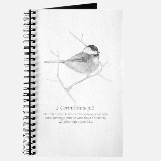2 Corinthians 9:6 Chickadee Drawing Journal