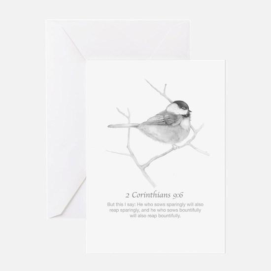 2 Corinthians 9:6 Chickadee Drawing Greeting Cards