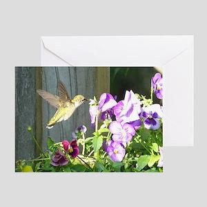 Pansy Hummingbird Greeting Card