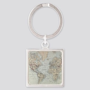 Vintage Map of The World (1875) Keychains