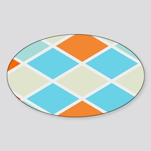 Colorful Abstract Triangles Backgro Sticker (Oval)