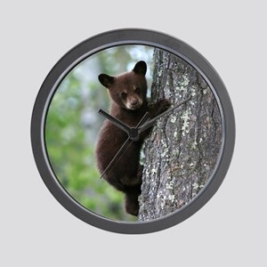 Bear Cub Climbing a Tree Wall Clock