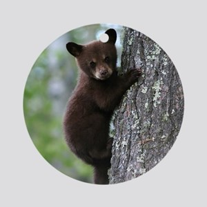 Bear Cub Climbing a Tree Round Ornament