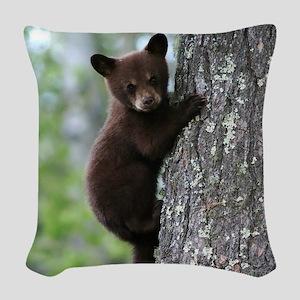 Bear Cub Climbing a Tree Woven Throw Pillow