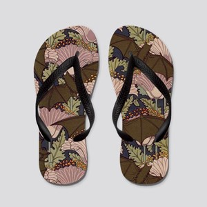 Vintage Art Deco Bat and Flowers Flip Flops