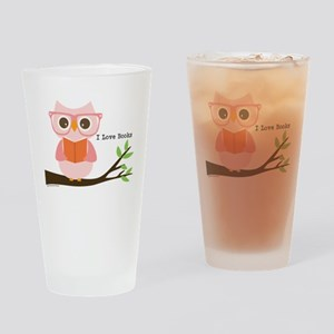 Cute Owl Reading Drinking Glass