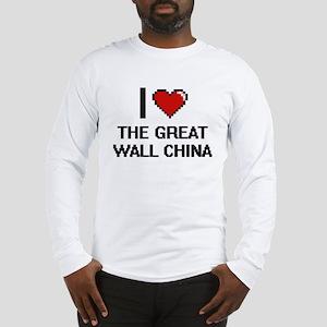 I love The Great Wall China di Long Sleeve T-Shirt