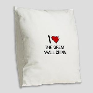 I love The Great Wall China di Burlap Throw Pillow