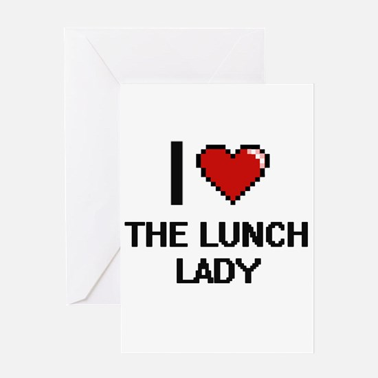 I love The Lunch Lady digital desig Greeting Cards