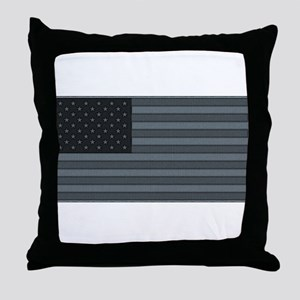 US Flag Urban Patch Throw Pillow