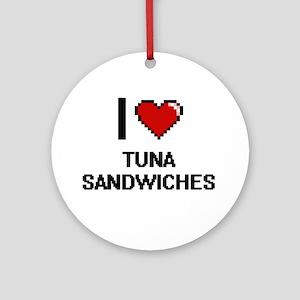 I love Tuna Sandwiches digital desi Round Ornament