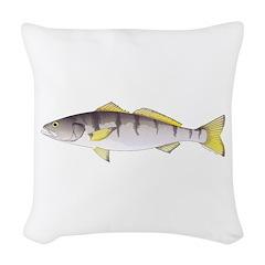 White Seabass Woven Throw Pillow
