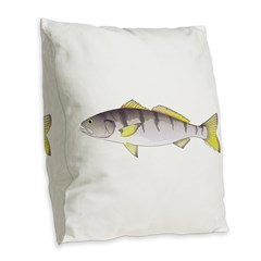 White Seabass Burlap Throw Pillow