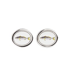 White Seabass Oval Cufflinks