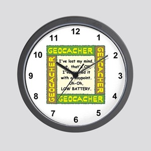 Green Geocacher Lost Mind Wall Clock