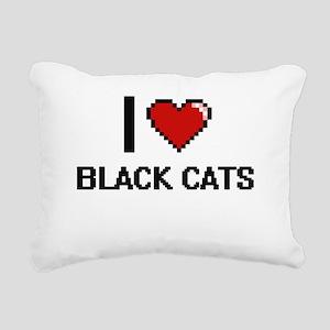 I love Black Cats digita Rectangular Canvas Pillow
