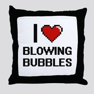 I love Blowing Bubbles digital design Throw Pillow