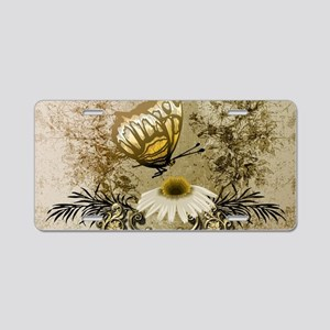 Vintage, butterfly with flowers Aluminum License P