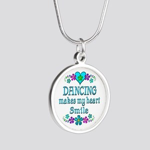 Dancing Smiles Silver Round Necklace